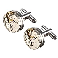 Cufflinks,Baban Deluxe Steampunk Cufflinks Vintage Watch Movement Shape Cufflinks For Men/Women/Lover/Friends/Wedding/Anniversaries/Birthdays With Elegant Storage Display Box