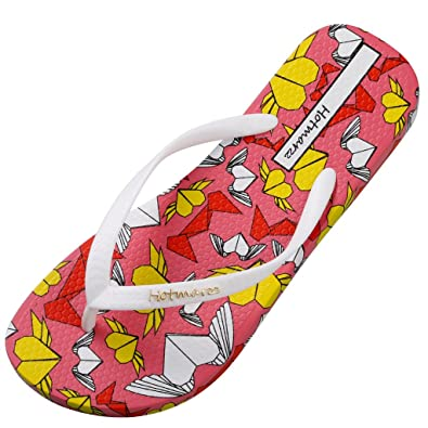 Hotmarzz Damen Flach Rutschen Herz Karikatur Mode Zehentrenner Sommer Strand Zuhause Hausschuhe Pool Badezimmer Dusche Schuhe Size 35 EU/36 CN, Pink