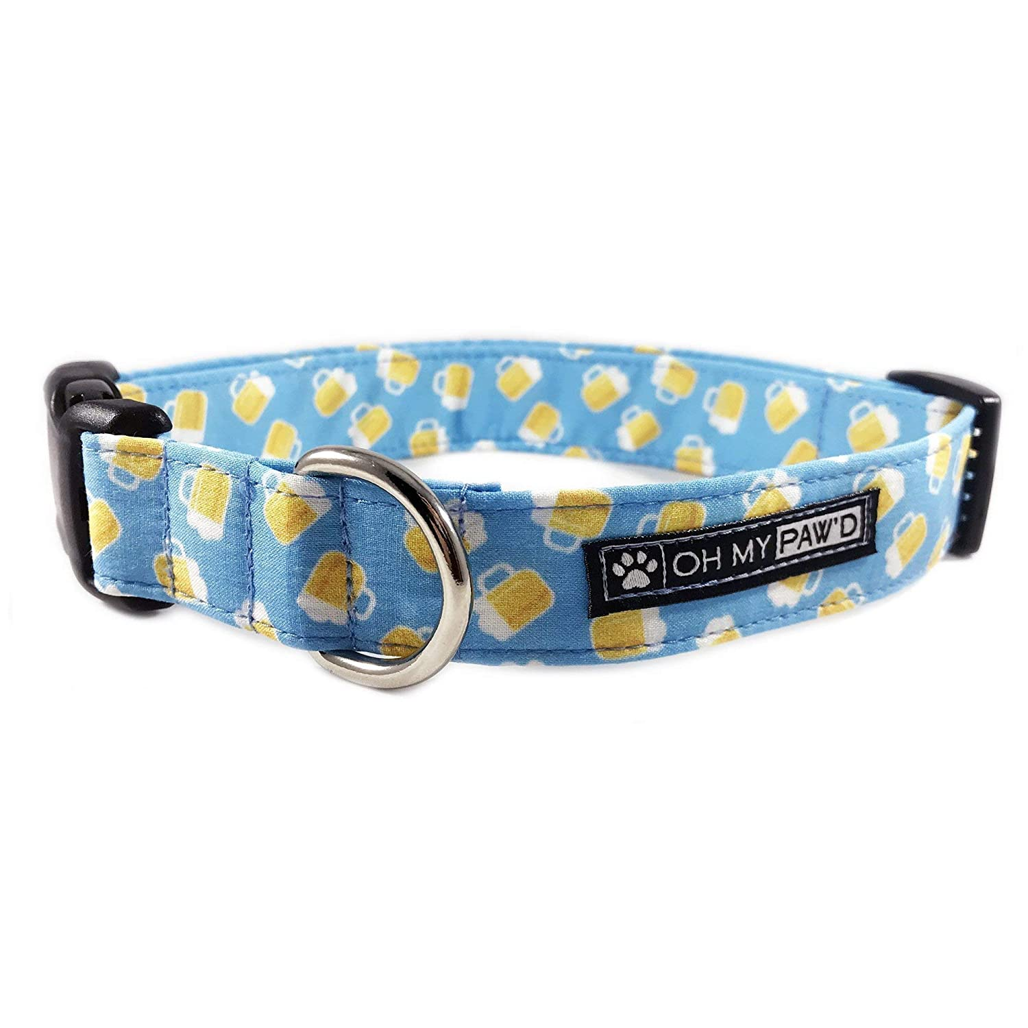 Beer Dog Collar/Cat Collar for Pets Size Large 1 Wide and 15-25 Long by Oh My Paw'd