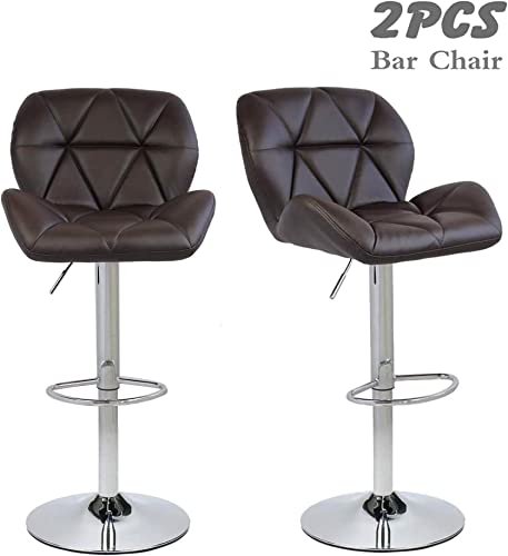 FULLWATT Modern Adjustable Swivel Bar Stools Bar Chairs with Back PU Leather Swivel BarStools Kitchen Counter Stools Dining Chairs Set of 2 Brown