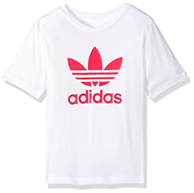 adidas Originals Tops Big Girls' Kids Trefoil Tee, White/Shock Pink Sample,