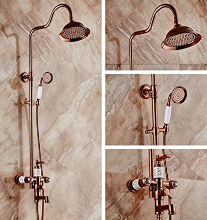 Amazon.com: ALJL European Style Retro Bronze Bathroom Rain Mixer ...