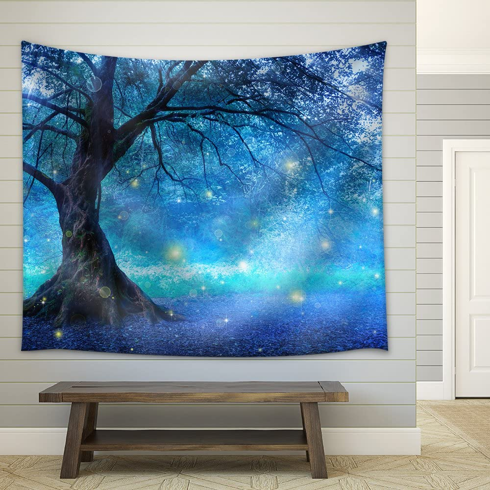 wall26 - Fairy Tree in Mystic Forest - Fabric Wall Tapestry Home Decor - 68x80 inches