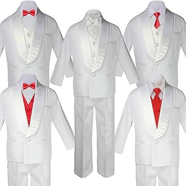 6pc Boys White Satin Shawl Lapel Suits Tuxedo EXTRA Red Satin Necktie Set