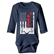 Deer Hunting US Flag Unisex Boys Girls Sleepwear Baby Onesies Outfits