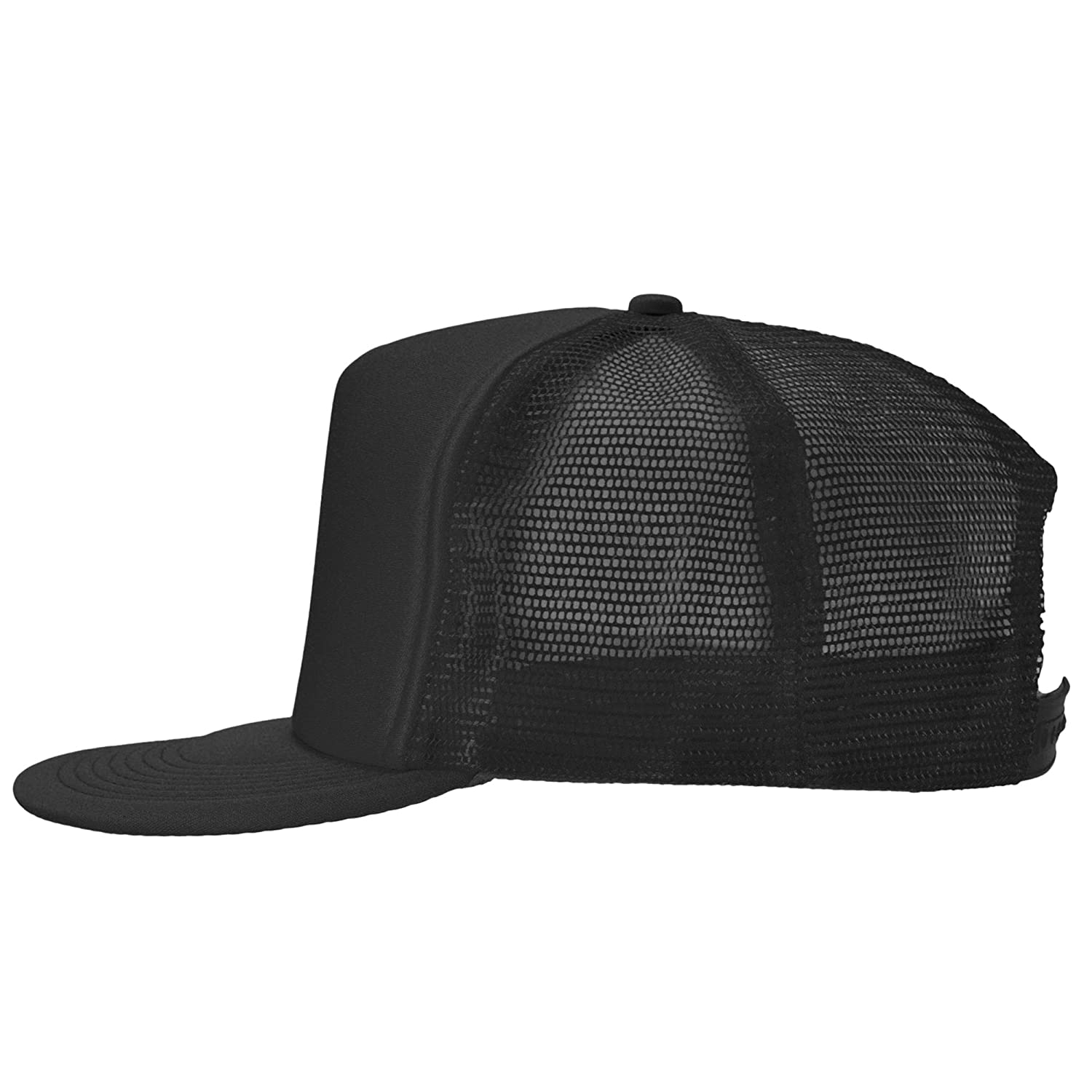 d5226dd36db DALIX Flat Billed Trucker Cap With Mesh Back in Black at Amazon Men s  Clothing store