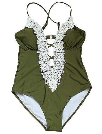 a3dc058ee173 tengweng Women Fashion Lace Crochet Deep V Neck One Piece Swimsuit Padded  Swimwear Cutout Bikini Set