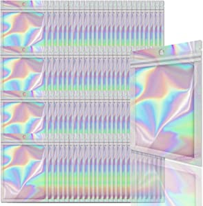 Allstarry 100 Pieces Holographic Foil Pouch Bags Resealable Smell Proof Zip Lock Sealing Aluminum Bag for Jewelry Food Storage (2.4 3.9 Inch)