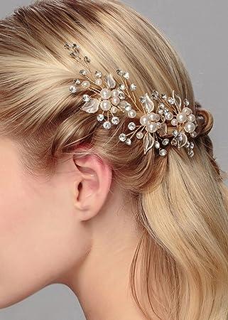Gracewedding Brautschmuck Nachahmung Perlen Und Rhineatone Leaf Pins