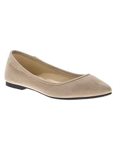 8f2af4901aba Time and Tru Women s Almond Toe Flat Shoe (7) Taupe