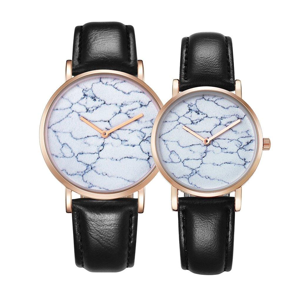 Watch Women 6812 Round Dial Alloy Gold Case Fashion Couple Watch Men & Women Lover Quartz Watches With PU Leather Band (SKU : Wa0722b) by Dig dog bone