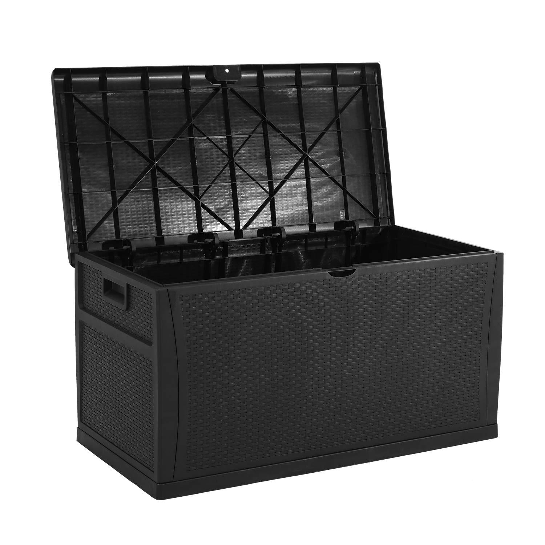 SOLAURA Outdoor Storage Deck Box-120 Gallon Gray Wicker Pattern Container Cabinet Garden Patio Furniture