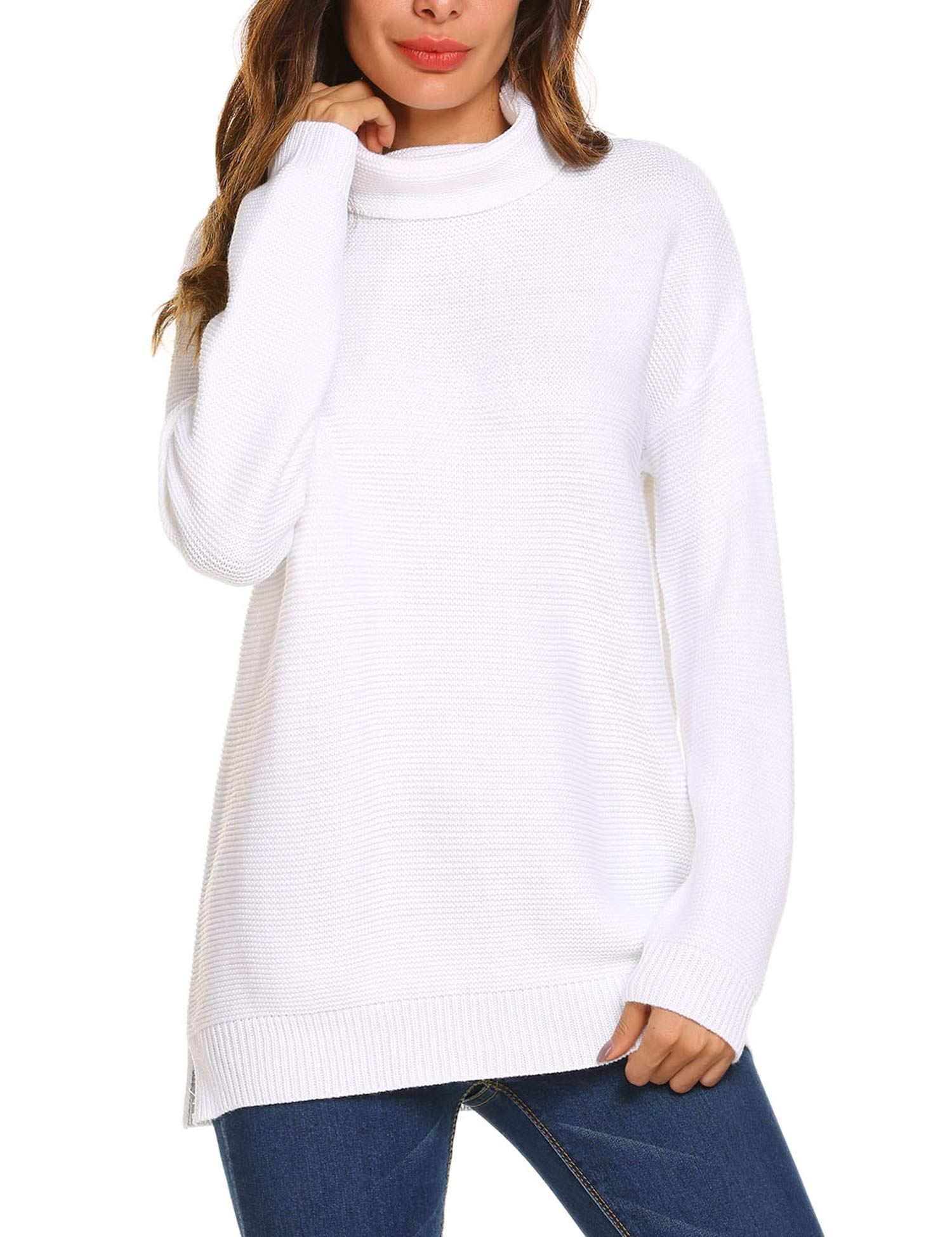 Teewanna Women Cowl Neck Knit Stretchable Long Sleeve Loose Sweater Jumper (White, S)