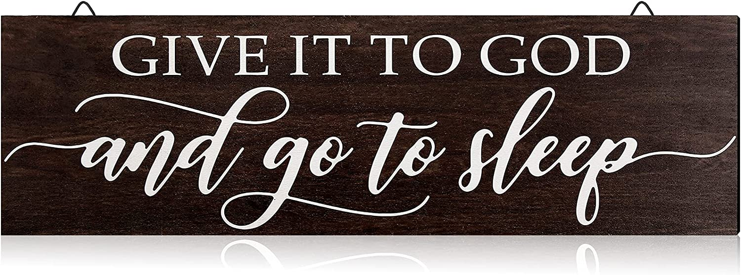 Jetec Give it to God and Go to Sleep Sign Bedroom Wall Decor Cute Room Decor Modern Farmhouse Wall Decor Rustic Farmhouse Decor for The Home Sign (Brown)