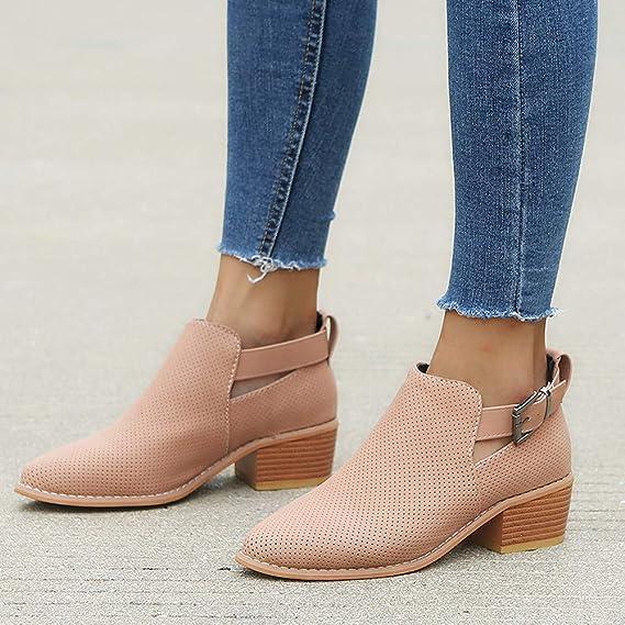 Zapatillas de Mujer de BaZhaHei, Palabra acentuada Hebilla de Color sólido Hueco Botas Zapatos de Mujer de Zapatos Punta Estrecha para Mujer Botines Huecos ...