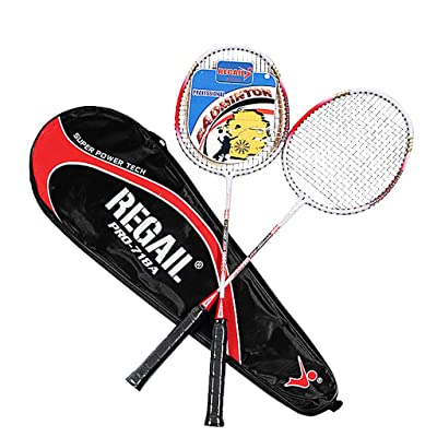 Wenjuan Badminton Racquets Set,2 Player Badminton Rackets, Metal Baking Paint & Sturdy Perfect for Adults & Kids,1 Carrying Bag Included (Red Badminton Racket): Toys & Games [5Bkhe2006215]