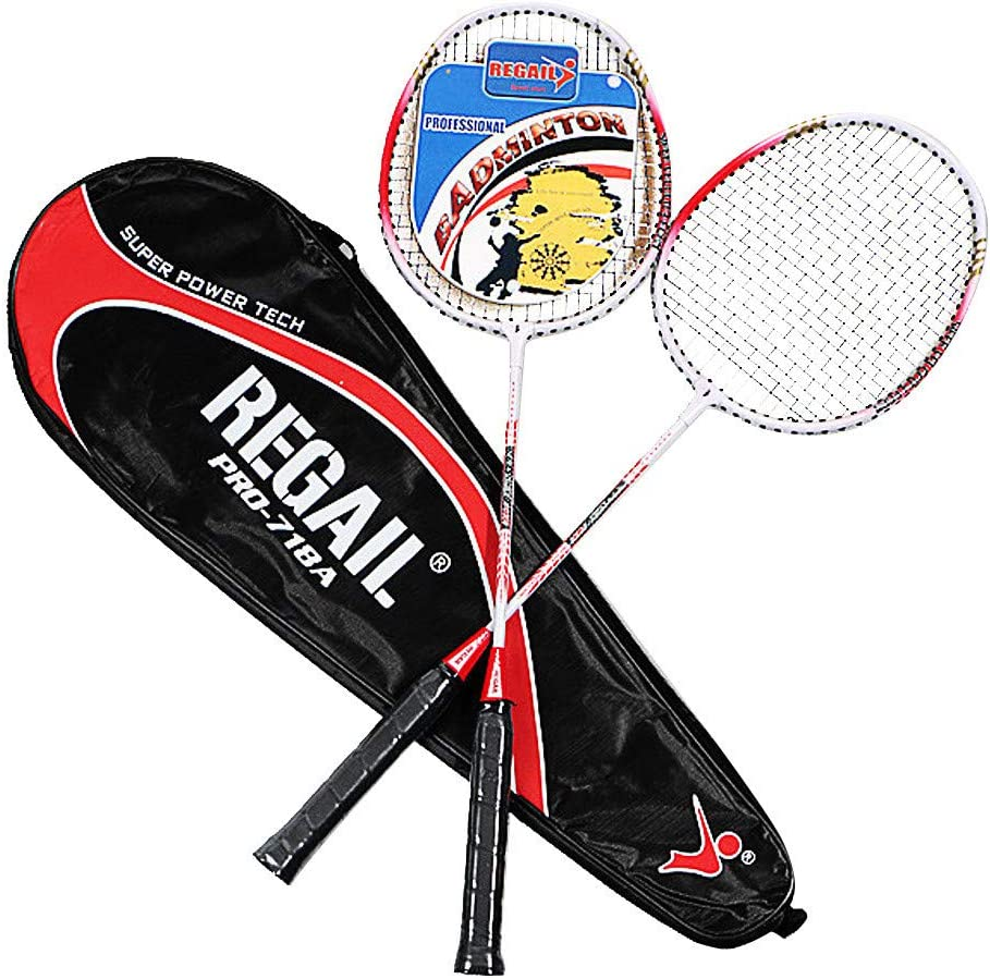 Crazyfashion Family Aluminium Alloy Two Tone Beat Metal Baking Paint Badminton Racket Red,Blue