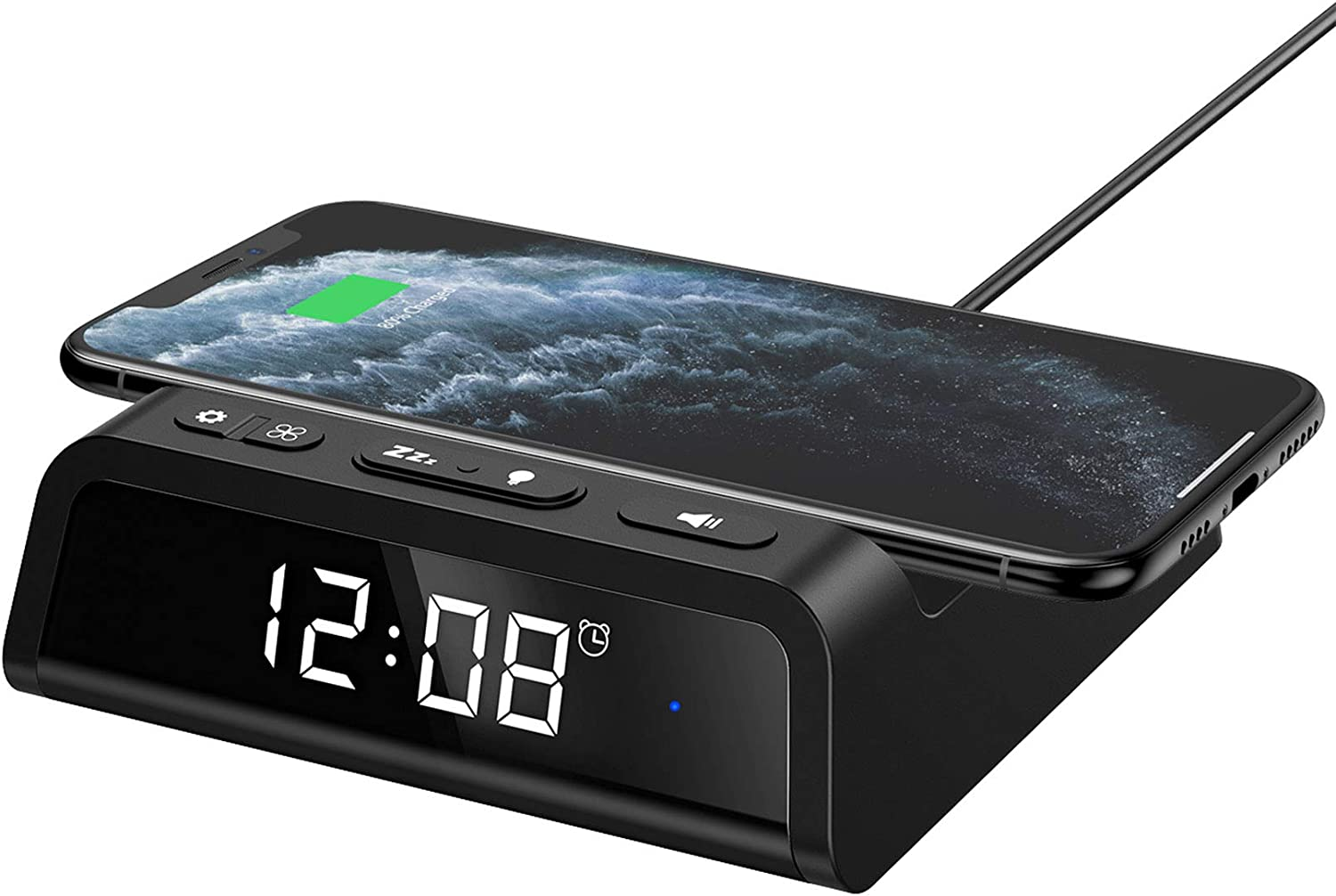 Seneo Alarm Clock with Wireless Charging Pad, 7.5W Wireless Charger for iPhone 11/Pro Max/SE 2/XR/XS/X/8/8plus, 10W Fast Wireless Charging for Galaxy S10/S10+/S9/S9+/Note10/9/8, Additional USB Port
