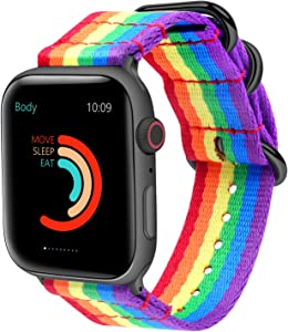 Fun Gaau 38mm 40mm Nylon Rainbow Compatible Apple Watch Band LGBT Pride Band Black Buckle Compatible iwatch Band Series 6/5/4/3/2/1 SE