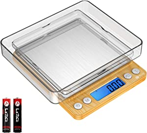 (Upgraded) Brifit Digital Kitchen Scale, 500g Mini Pocket Jewelry Scale, Cooking Food Scale with Back-Lit LCD Display, 2 Trays, 6 Units (Battery Included)