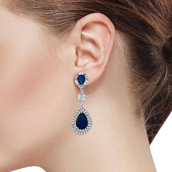 a1f9c088753c Amazon.com  Pear Shape Blue Simulated Sapphire and Zirconia Dangle  Chandelier Earrings 2