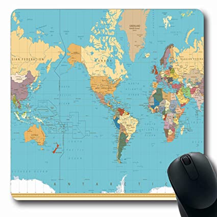 World Map Asia Centered.Amazon Com Ahawoso Mousepads For Computers America Blue Vintage