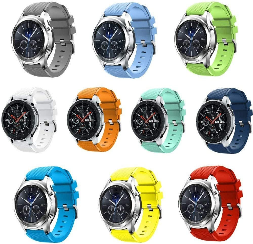 Seinit Soft Silicone Sport Band 22mm Replacement Strap Compatible with Samsung Galaxy Watch (46mm), Gear S3 Frontier, Classic Smart Watch, 10-Pack