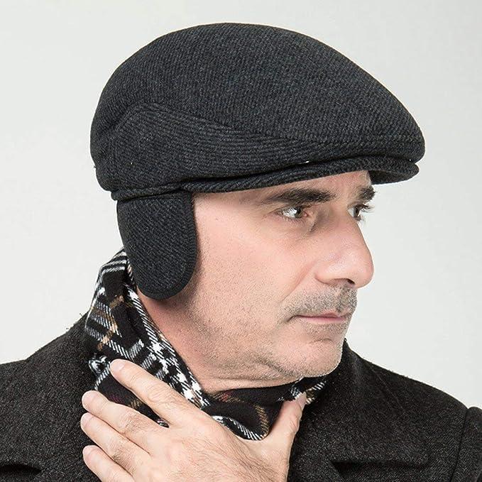 56-59CM AOOPOO Mens Flat Cap Knit Adjustable Beret Caps Thicking Autumn Winter