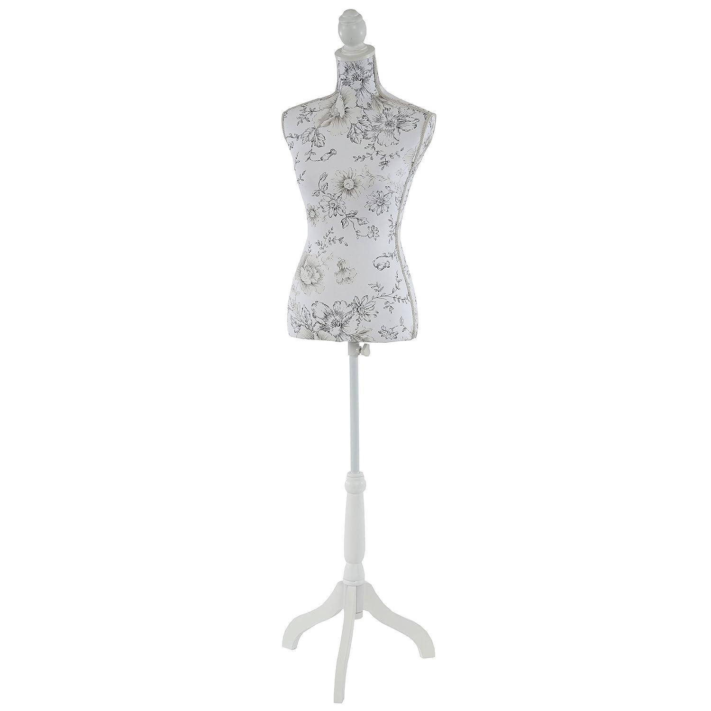 Mannequin de Couture de Tailleur Buste Torse f/éminin T222 ~ Fibre de Verre Motif Blanc /à Fleurs