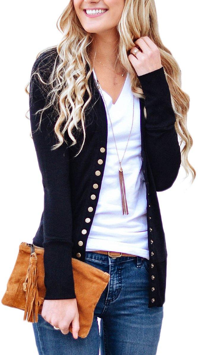 NENONA Women's V-Neck Button Down Knitwear Long Sleeve Soft Basic Knit Snap Cardigan Sweater(Black-L)