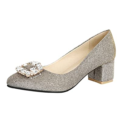 8f9f9e02815 Mee Shoes Womens Sexy Block-heel Crystals Court Shoes  Amazon.co.uk ...