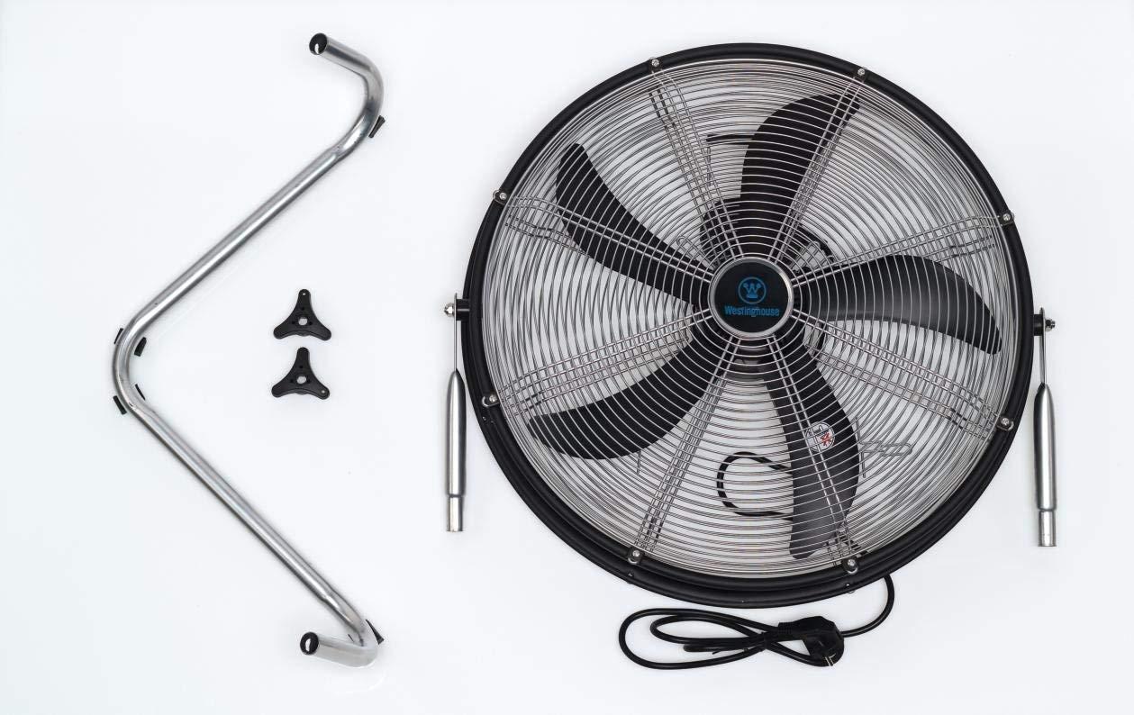 Westinghouse Yucon II 7271640 Ventilateur sur pied en M/étal avec 5 vantaux en ABS diam/ètre de 50/cm//bo/îtier de 53,5 cm//hauteur maximale de 60,5 cm Noir mat//Argent/é