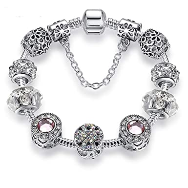 bdc96bdc6 JEWH Original Silver 925 Crystal Four Leaf Clover Bracelet with Clear Murano  Glass Beads Charm Bracelet