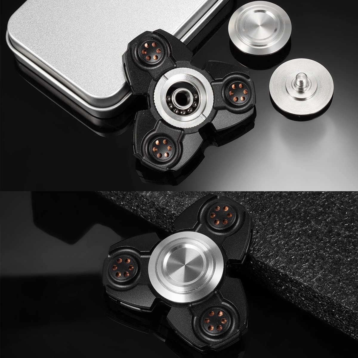 FREELOVE Russia UFO Triangle Design Fidget Spinner Toy Stress Reducer Premium EDC Disassemble Silicon Nitride Ceramic Bearing Helps Focus, Stress, Anxiety, ADHD (Aluminum Alloy Black, Aluminum Alloy) by FREELOVE (Image #5)
