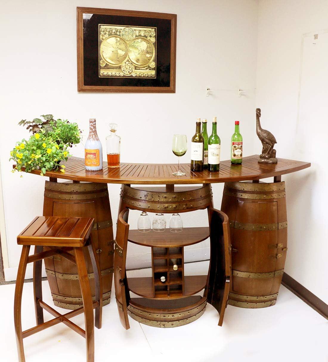 Amazon Com Mgp Oak Wood Wine Barrel Bar With 6 Ft Teak Wood Foldable Bar Counter 72 L X 24 D X 42 H Kitchen Dining