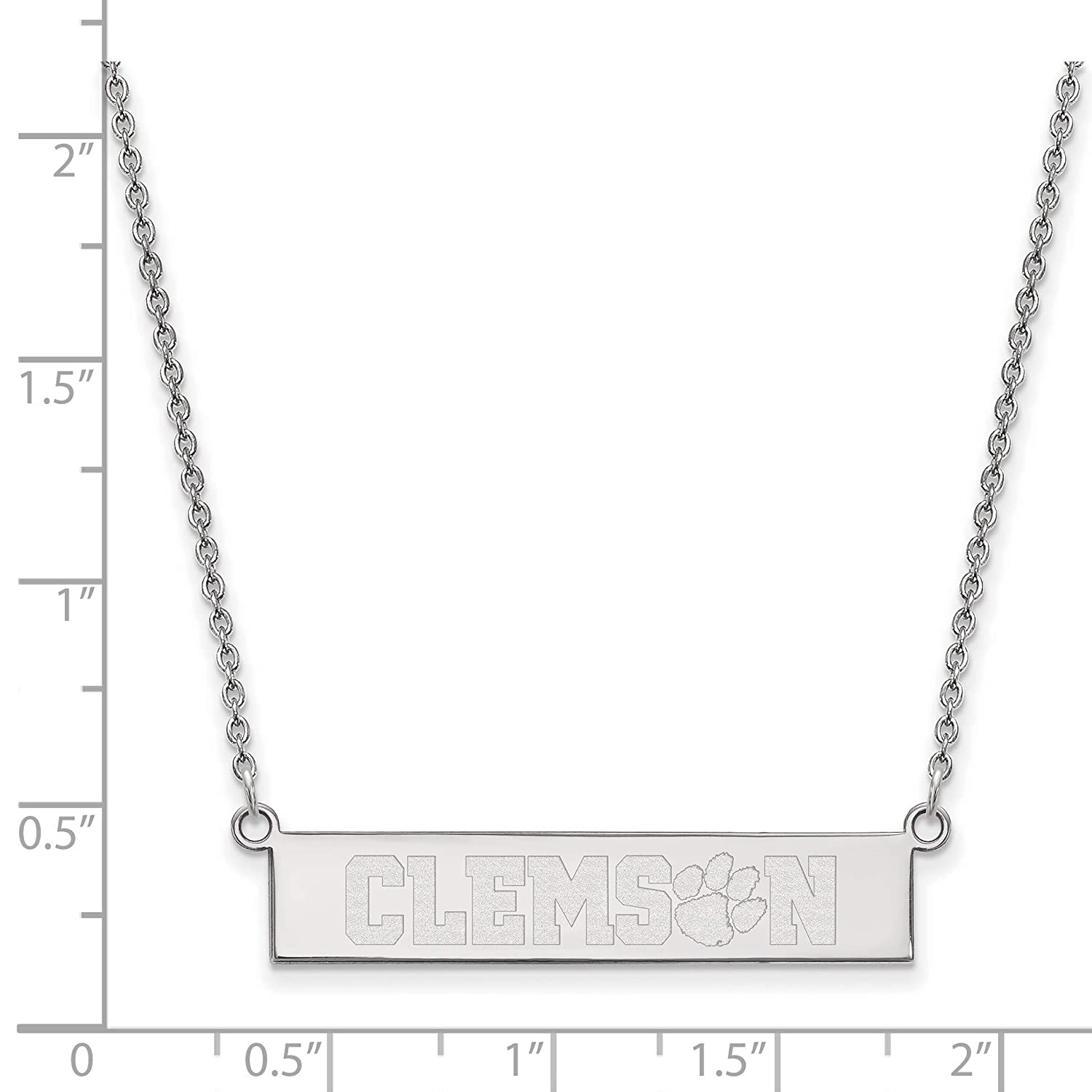 Clemson University Tigers School Name on Bar Pendant Necklace in Sterling Silver18 Inches
