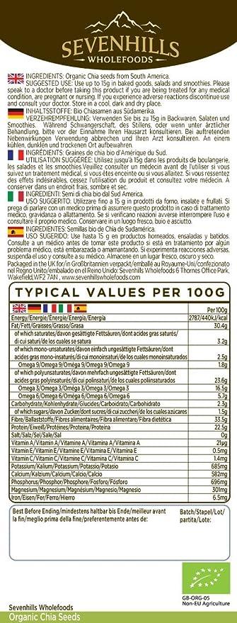 Sevenhills Wholefoods Semillas de Chia Crudas Orgánico 500g: Amazon.es: Salud y cuidado personal