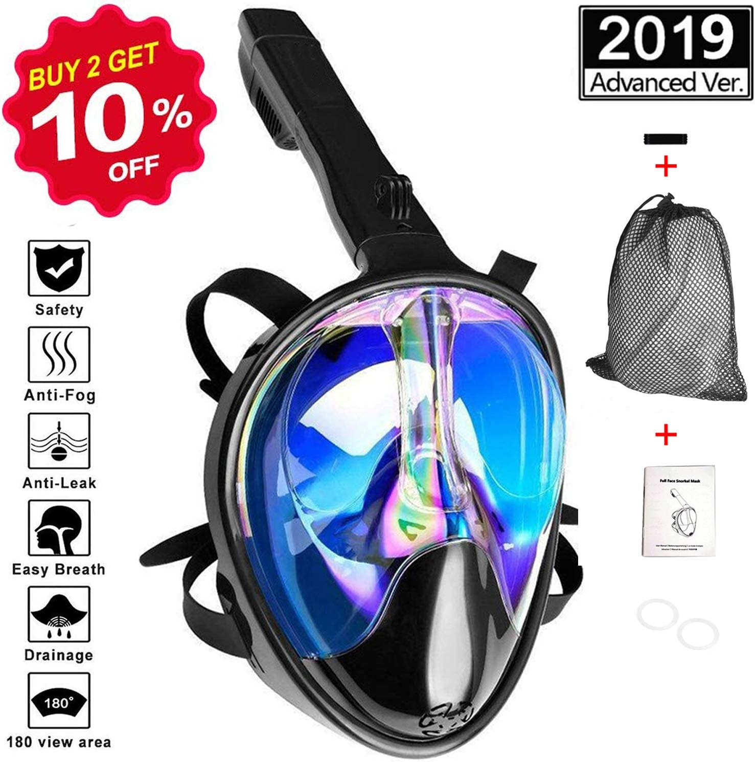 L-XL VORRINC Tauchmaske Schnorchelmaske Vollmaske,Tauchmaske Vollgesichtsmaske,Mit Kamerahalterung,mit 180/°Sichtfeld und Kamerahaltung F/ür Kinder Erwachsene