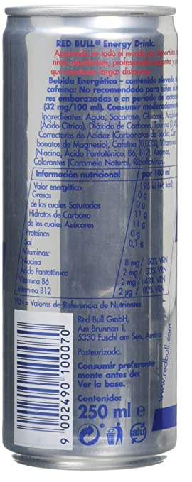 Red Bull Regular, Bebida energética - 24 de 250 ml. (Total 6000 ml.): Amazon.es: Alimentación y bebidas