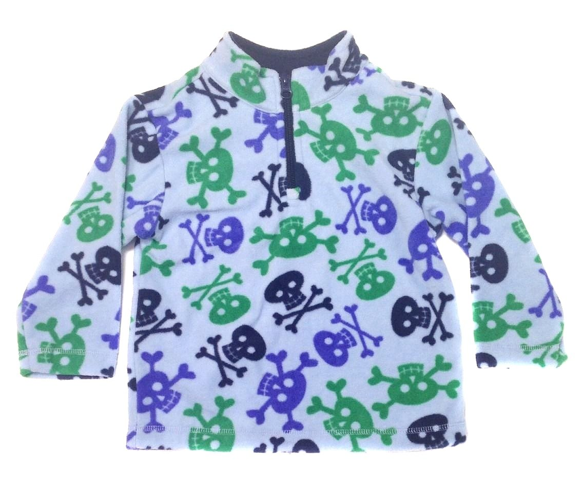 Hanna Andersson Baby Boy Soft Fleece 1/4 Zip Shirt Skull Jacket 653475