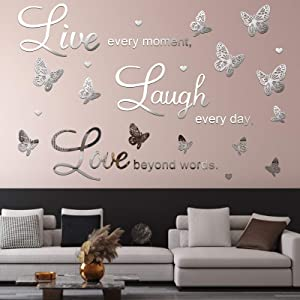 3D Acrylic Mirror Wall Decor Stickers Removable Butterfly Mirror Wall Stickers DIY Love Every Moment for Home Office School Teen Dorm Room Mirror Wall Decoration (Silver)