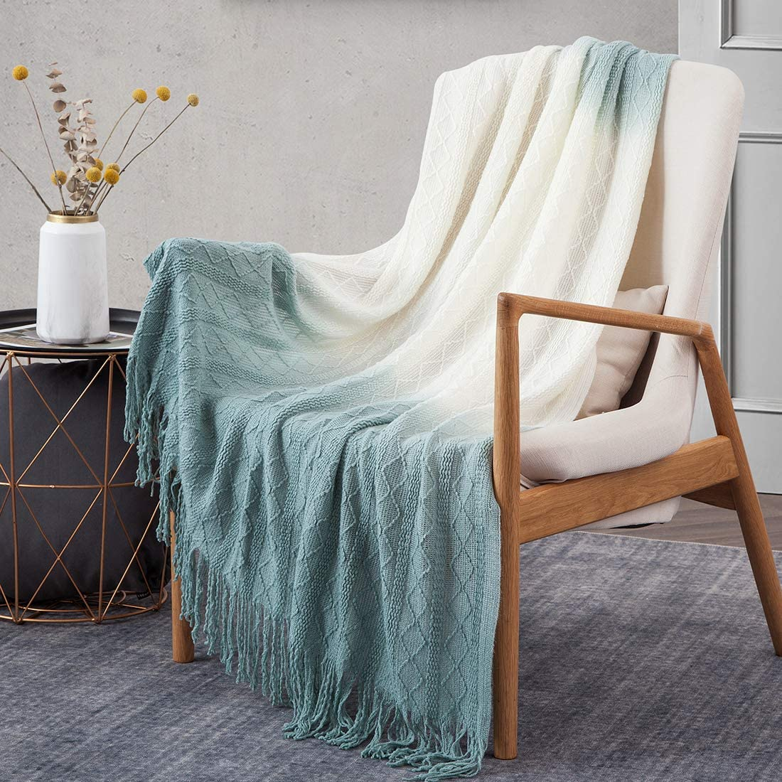 Treely Knitted Throw Blanket Gradient Blue
