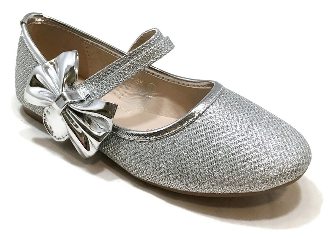 Anna Shoes Womens Dimple-5K Flats Silver 11 M US Little Kid