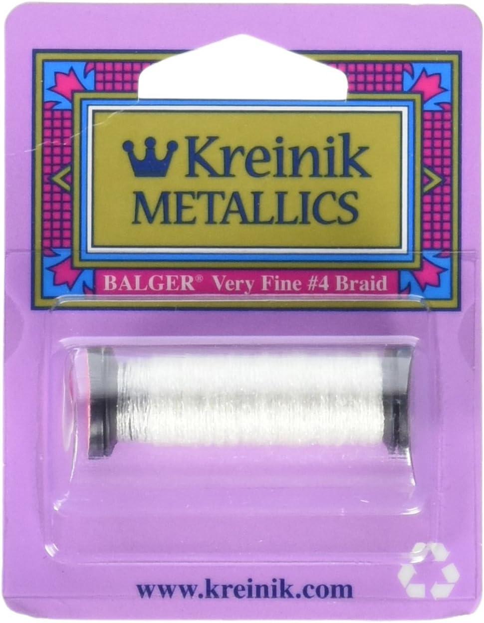 12 Yards Silver Kreinik Very Fine Metallic Braid #4 11 Meters VF-001
