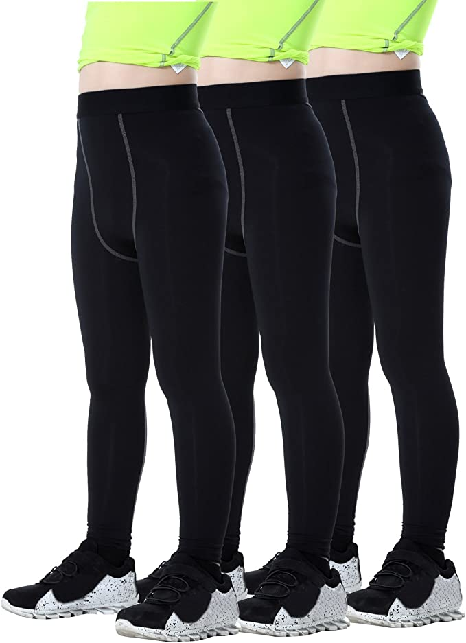 LANBAOSI Boys /& Girls Sports Compression Base Layer Cool Dry Legging Tights Pants Green