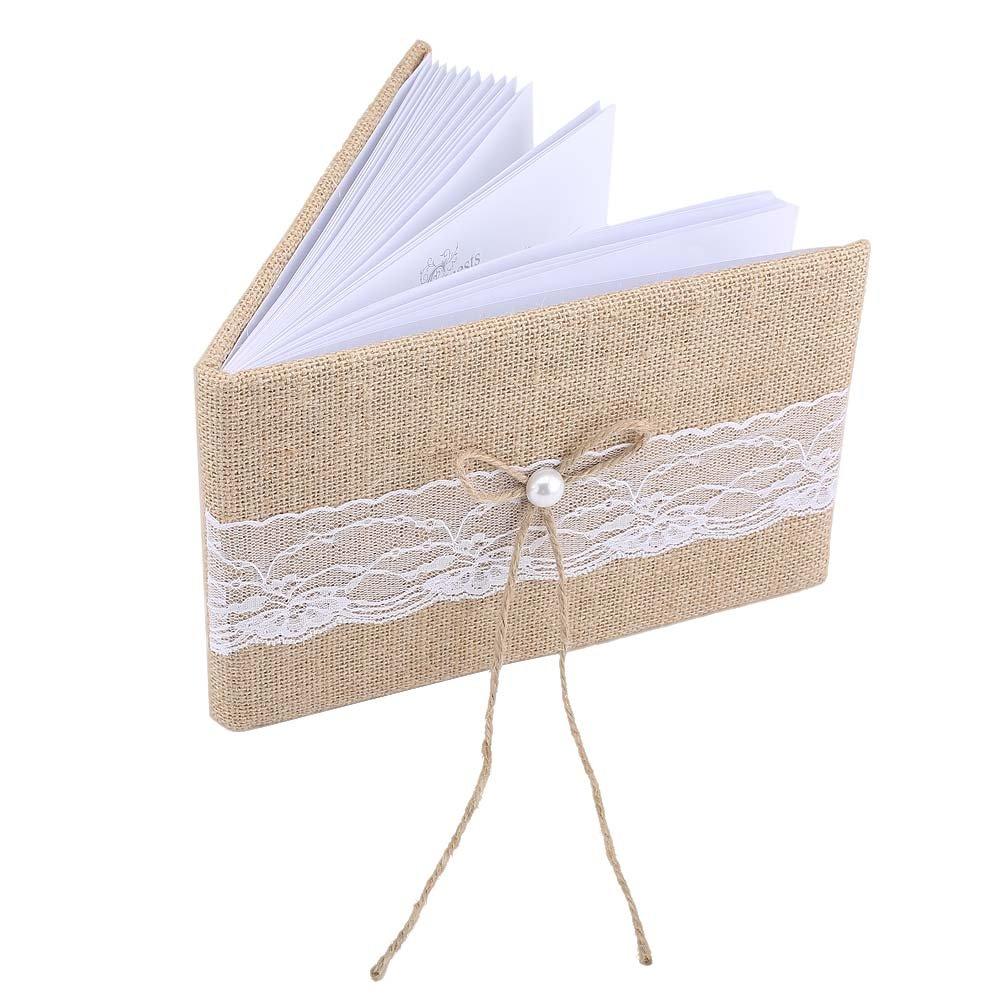Suppyfly Livre dor personnalis/é de Mariage personnalis/é orn/é de Livre de Mariage de Toile de Jute et Support de Stylo