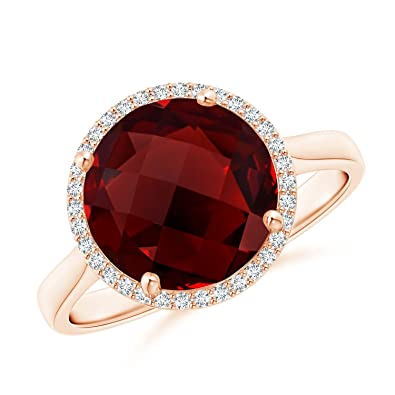707a67c3139ec Natural Round Garnet Cocktail Ring with Diamond Halo (10mm Garnet)