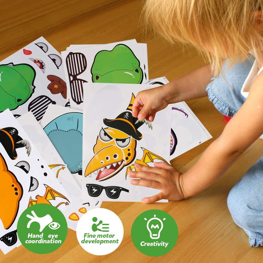 Coogam 48PCS Faire Un Autocollant Dinosaure pour Les Enfants Faites Votre Propre Autocollants Dinosaure faveurs du Parti Feuilles Autocollant Dinosaur Jungle th/ème