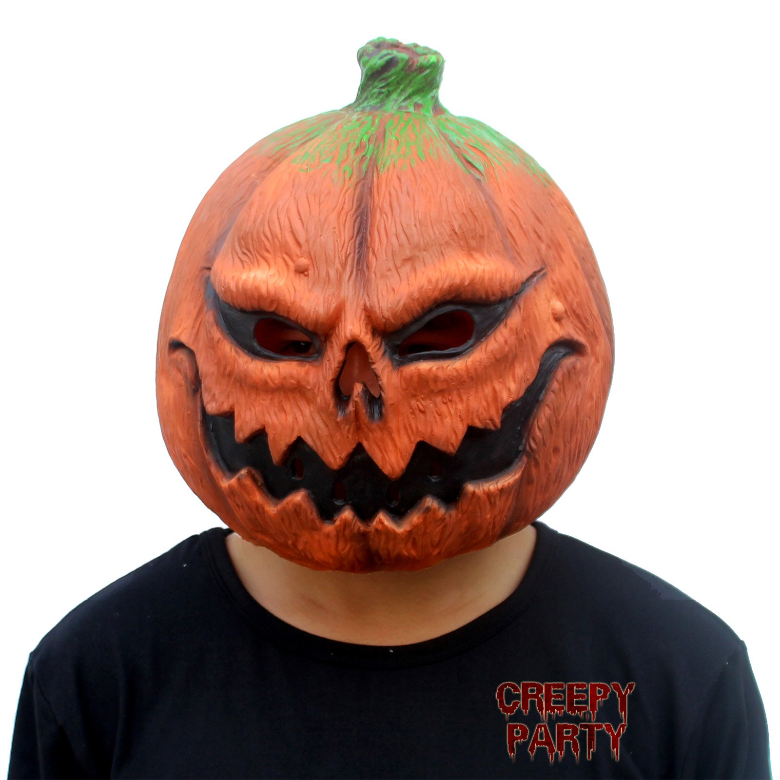 CreepyParty Deluxe Novelty Halloween Costume Party Props Latex Pumpkin Head Mask (Pumpkin) (Pumpkin Head) by Creepy Party