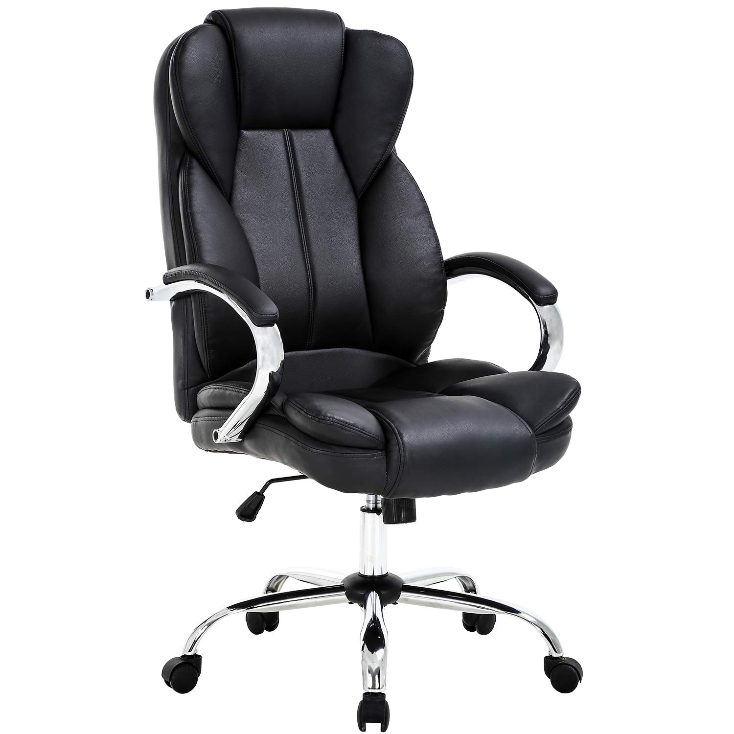 Ergonomic Home Office Chair, High Back PU Leather Computer Desk Chairs, Task Rolling Swivel Executive Chair with Lumbar Support Armrest for Women, Men(Black) by BestOffice